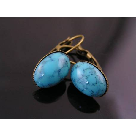 Turquoise Cabochon Sleeper Earrings