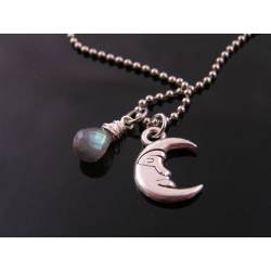 Crescent Moon Necklace with Labradorite