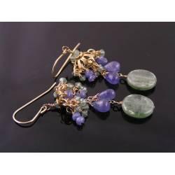 Tanzanite and Green Kyanite Earrings, gold filled