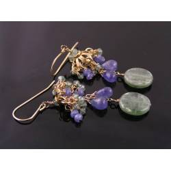 Tanzanite and Green Kyanite Earrings, gold filled