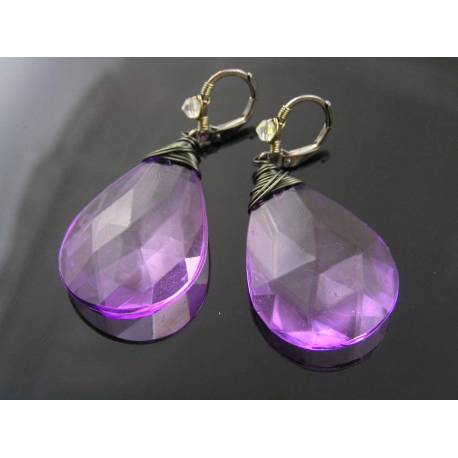 Purple Earrings, Light Weight Acrylic