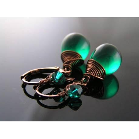 Green Czech Glass Teardrop Earrings