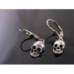 Skull Earrings, Wire Wrapped Leverback Ear Wires