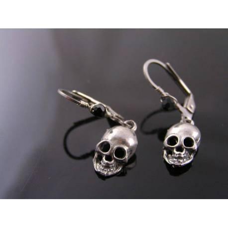 Skull Earrings, Wire Wrapped Leverback Ear Wires