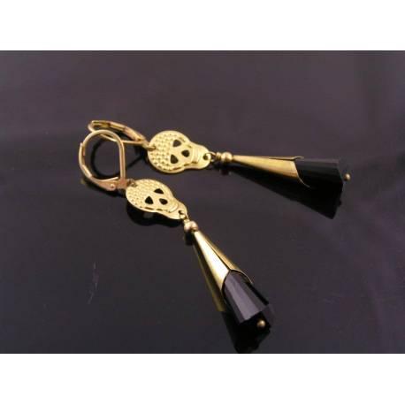 Golden Brass, Skull and Black Crystal Earrings