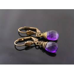 Wire Wrapped Purple Amethyst Earrings
