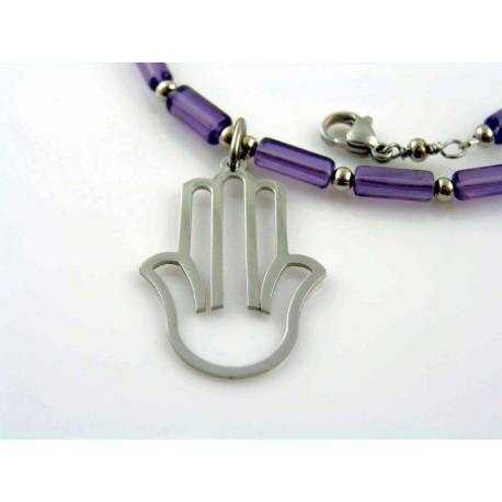 Purple Necklace with Hamsa Hand Pendant, Protection Necklace