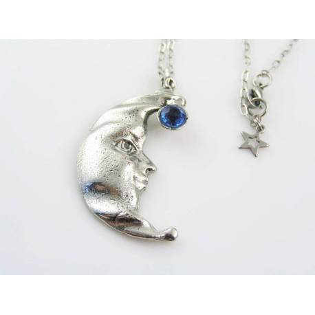 Large Crescent Moon Necklace with Blue Stone