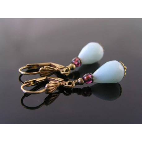Amazonite and Garnet Earrings
