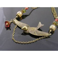 Large Swallow Necklace with Czech Beads