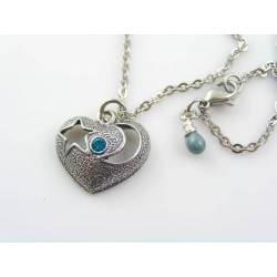 Blue Crystal Heart Necklace, Crescent Moon and Star