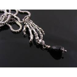 Skeleton Hand Necklace with Black Onyx