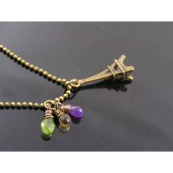 Eiffel Tower Necklace with Citrine, Peridot and Amethyst