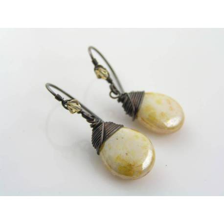 Shimmering Pale Czech Glass Drop Earrings, Wire Wrapped Ear Wires