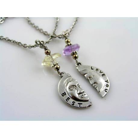 Love You Best - Couple Necklaces with Matching Pendants and Gemstones