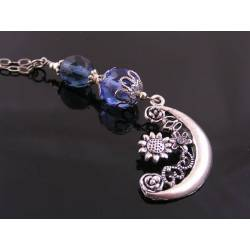 Crescent Moon and Blue Crystal Necklace