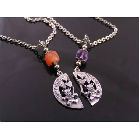 Friends Forever - Teddy Bear Friends Necklaces with Carnelian and Amethyst