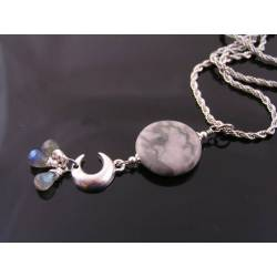 Crescent Moon, Grey Marble and Labradorite Necklace