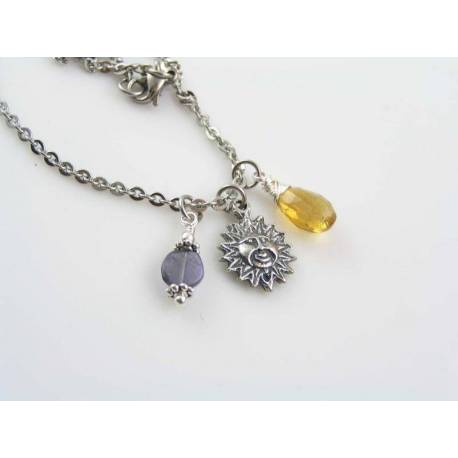 Sun Charm Necklace with Citrine and Iolite