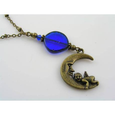 Crescent Moon and Angel Necklace, Czech Glass Beads