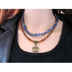 Vitruvian Man Necklace with Sodalite and Hessonite Garnet