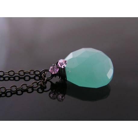 Blue Chalcedony and Pink Swarovski Crystal Necklace