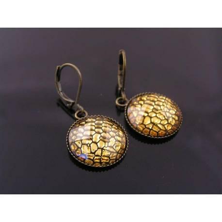 Golden Brown Snake Skin Cabochon Earrings