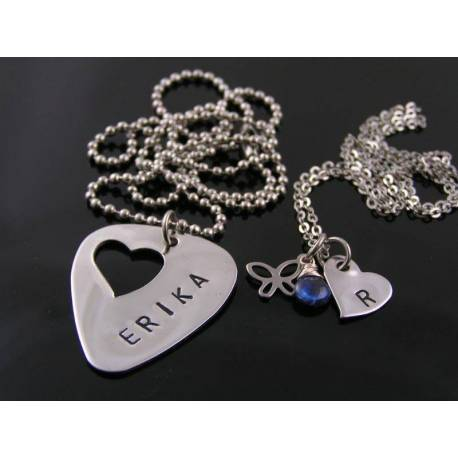 Matching Couple Necklaces, Guitar Pick and Heart Pendants