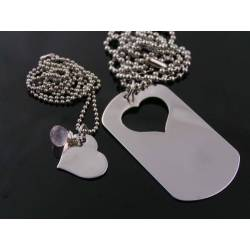 Matching Couple Necklaces, Dog Tag and Heart, Boyfriend Girlfriend