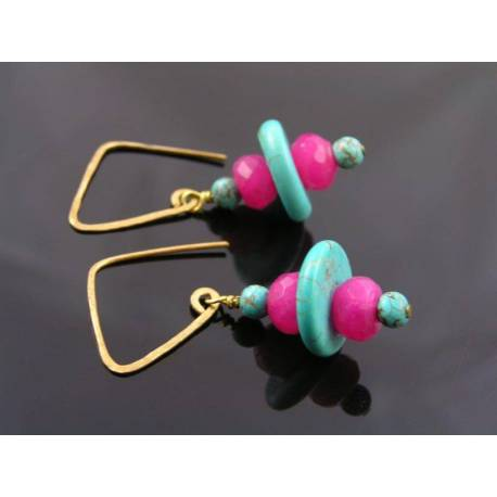 Turquoise and Pink Jade Earrings