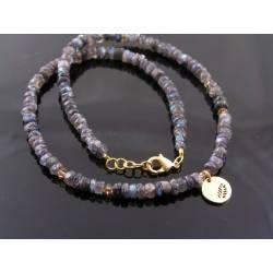 Labradorite and Swarovski Crystal Necklace, Leaf Pendant