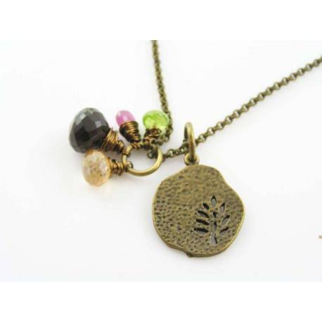 Tree Necklace, Tree of Life Necklace with Pink Sapphire, Smokey Quartz, Citrine and Peridot