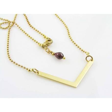 Gold Bar Necklace, Garnet or Birthstone