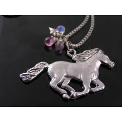 Horse Necklace, Cubic Zirconia and Heart Charm