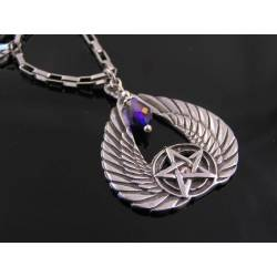Winged Pentagram Crystal Necklace