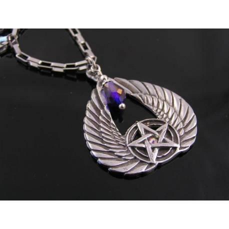 Winged Pentagram Crystal Necklace