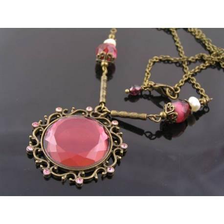 Victorian Style Burgundy Mirror Bead Necklace