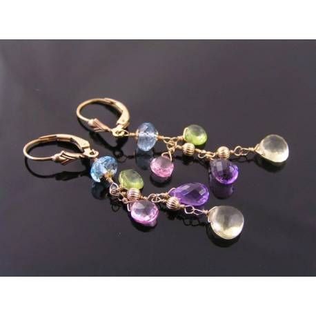 Blue Topaz, Pink Topaz, Lemon Quartz, Amethyst and Peridot Gold Earrings