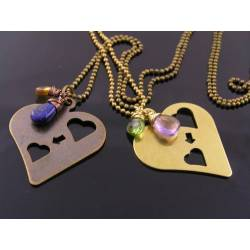 Two Heart - Heart Pendant Necklace with Birthstones