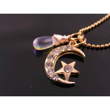 Crystal Crescent Moon Necklace, Rose Gold