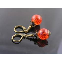 Red Crackled Glass Earrings with Black Onyx