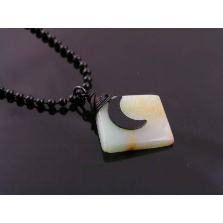 Black Moon Necklace with Green Moonstone