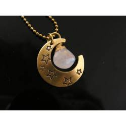 Moonstone and Hand Stamped Moon Charm Necklace