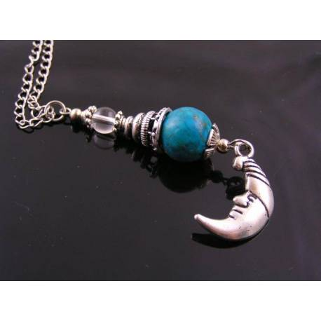 Sweet Moon, Turquoise and Quartz Necklace