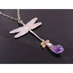 Dragonfly Necklace with Raw Amethyst Chrystal Drop