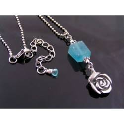Rose Necklace with Fluorite and Apatite