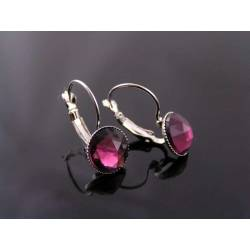 Silver Earrings with Vintage 1950s Glass Gems