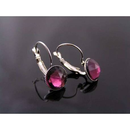 Silver Sleeper Earrings with Vintage 1950s Glass Gems