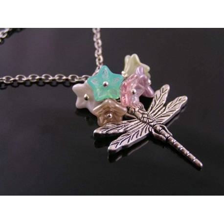 Dragonfly Necklace with Czech Glass Flowers