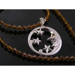 Topaz Beads and Crescent Moon, Star Necklace